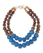 Two-Strand Wooden Bead Necklace