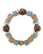 Mixed-Media Stretch Bracelet, Blue/Brown