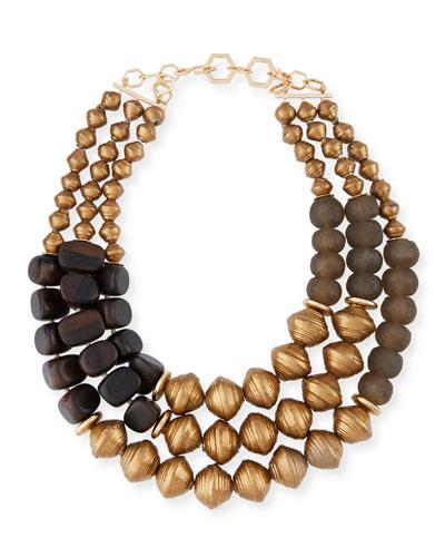 Three-Strand Metallic Necklace