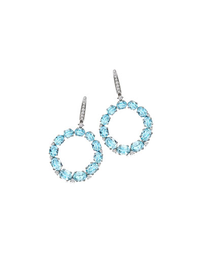 Lola Blue Topaz & Diamond Open Drop Earrings