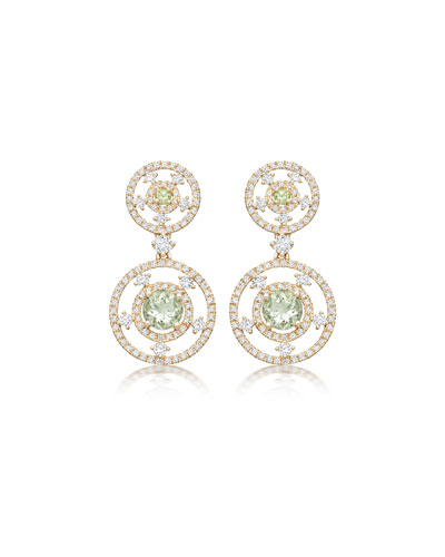 Apollo Diamond & Green Amethyst Round Drop Earrings