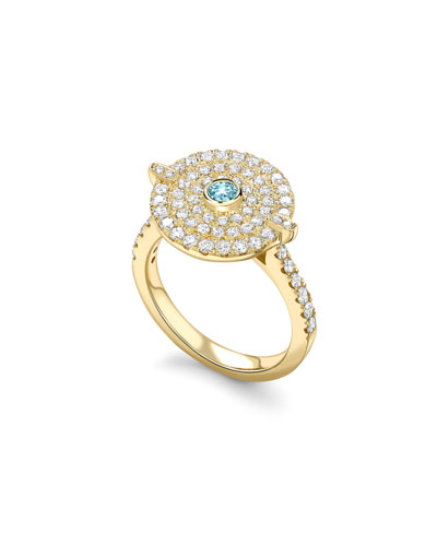 Fantasy Diamond & Blue Topaz Disc Ring