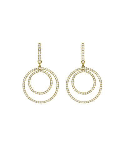 Lola Diamond Double-Circle Drop Earrings