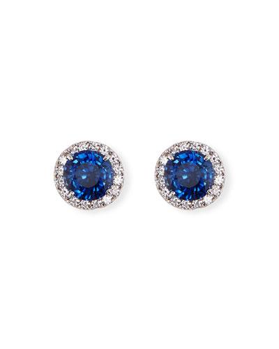 Blue & White CZ Round Halo Stud Earrings