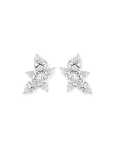 Pear-Shaped CZ Cluster Earrings