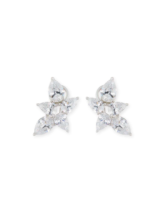 Pear-Shaped CZ Cluster Earrings