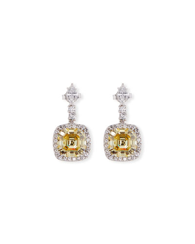 Asscher-Cut Canary CZ Drop Earrings