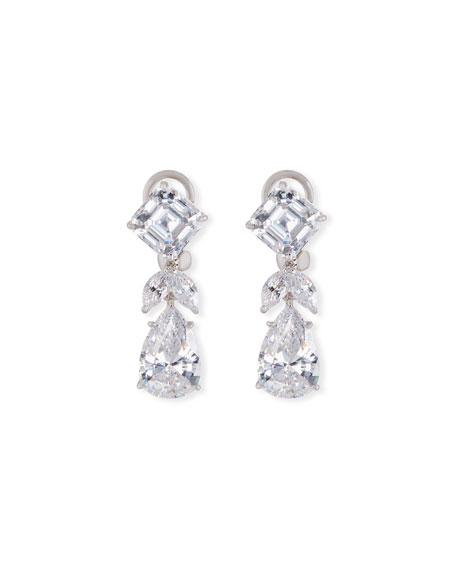 Fantasia by DeSerio Mixed-Cut CZ Short Drop Earrings