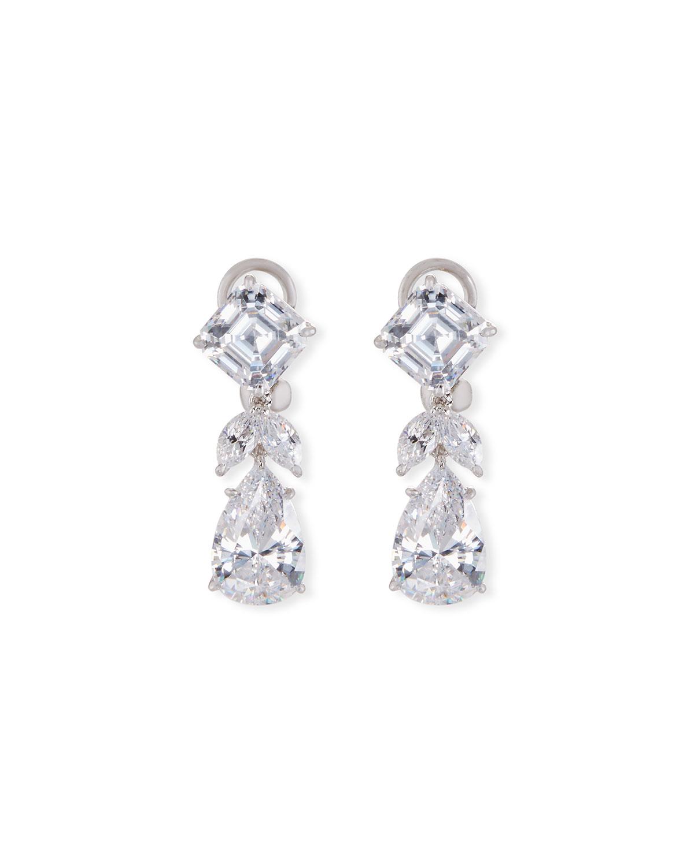 Mixed-Cut CZ Short Drop Earrings