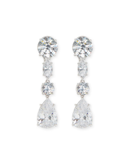 Fantasia by DeSerio Mixed-Cut CZ Drop Earrings