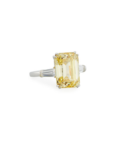 Emerald-Cut Yellow CZ Ring with Tapered Baguettes