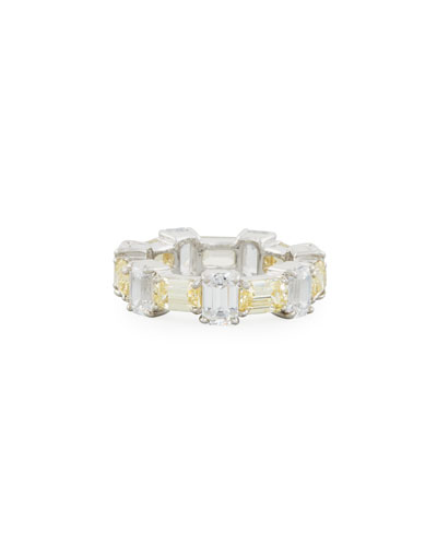 Alternating Emerald-Cut CZ Band Ring