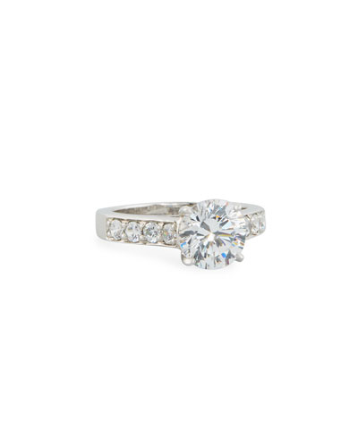 Round Cubic Zirconia Solitaire Ring