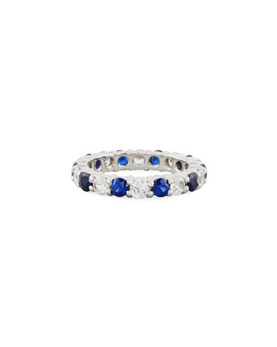 Blue & White CZ Eternity Band Ring in 14K White Gold