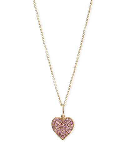 Anniversary Pink Sapphire Heart Pendant Necklace