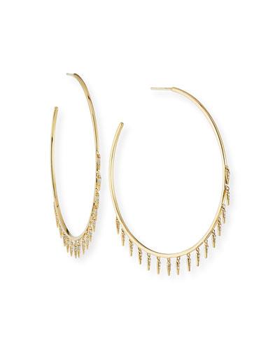 Large Fringe Drop Hoop Earrings with Diamonds