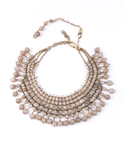Beaded Sunstone Bib Necklace