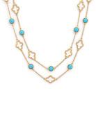 """Bezel-Set Turquoise Station Necklace, 32"""""""