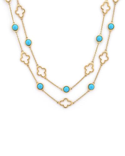 Bezel-Set Turquoise Station Necklace, 32