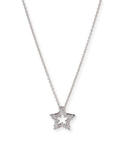 Diamond Star Pendant Necklace in 18K White Gold