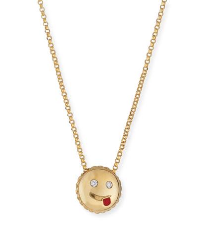 Cheeky Emoji Pendant Necklace with Diamonds