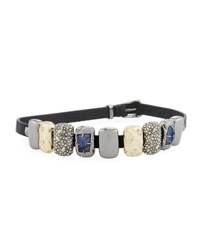 Embellished Leather Choker/Wrap Bracelet