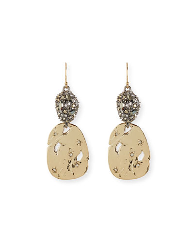 Pavé Pod & Rocky Disc Drop Earrings