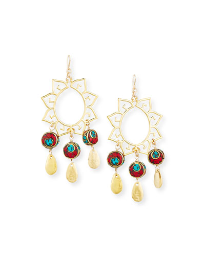 Turquoise & Coral Sun Chandelier Earrings
