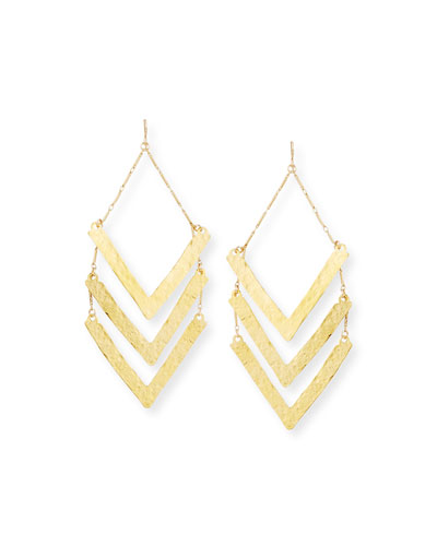 Hammered Triple-Wedge Statement Earrings
