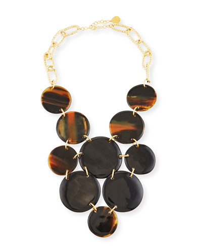 Horn Coin Bib Necklace