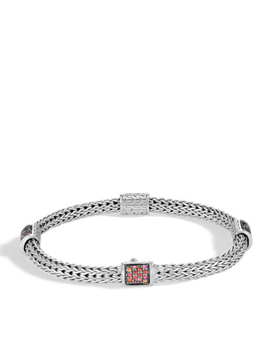 Classic Chain Silver Extra-Small Four Station Bracelet with Garnet