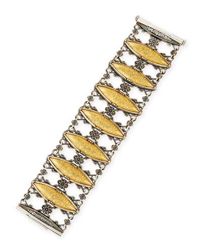 18K Gold & Sterling Silver Marquis Link Bracelet