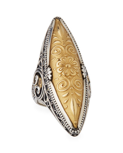Flower-Embossed 18K & Sterling Silver Marquis Ring, Size 7