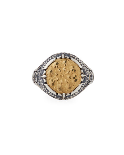 Flower-Embossed 18K & Sterling Silver Signet Ring, Size 7