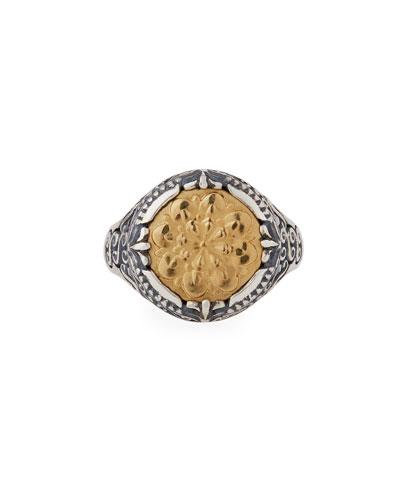 Flower-Embossed 18K & Sterling Silver Signet Ring, Size 7