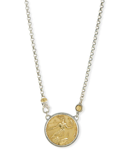 Gold coin pendant necklace neiman marcus quick look konstantino 18k gold sterling silver coin pendant necklace mozeypictures Images
