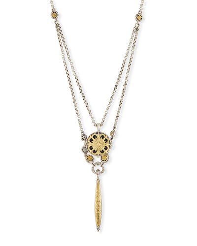 Sterling Silver & 18K Gold Double Chain Pendant Necklace