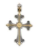 Sterling Silver & 18K Fleur Cross Pendant