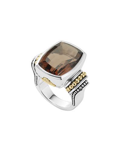 20mmm Caviar Color Smoky Quartz Ring, Size 7