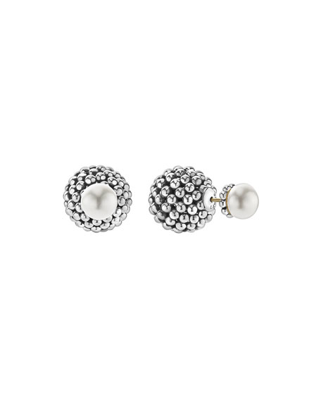 Lagos Caviar Pearl Front-Back Stud Earrings
