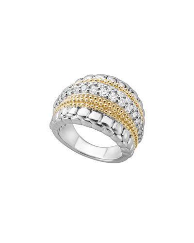 Lux Medium Band Ring with Diamonds, Size 7