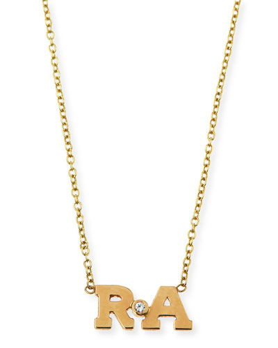 14k Two-Letter Pendant Necklace with Diamond