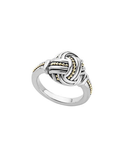 Small Sterling Silver & 18K Caviar Knot Ring, Size 7
