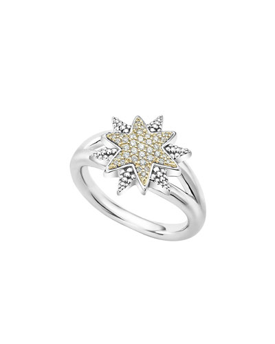 Sterling Silver & 18K Gold Star Ring with Diamonds, Size 7