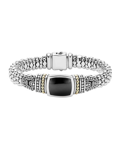 Caviar Color Large Station Bracelet with Onyx
