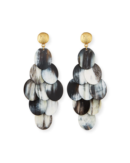 NEST Jewelry Mixed Horn Cluster Drop Earrings