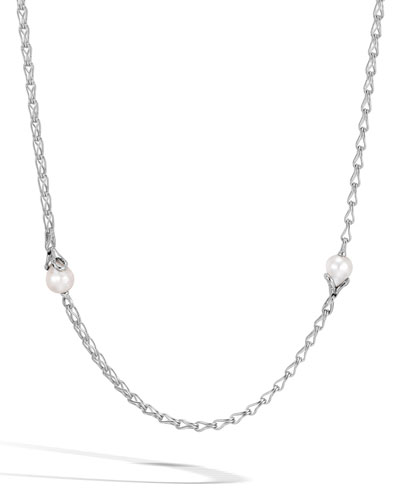 Bamboo Chain Necklace with Pearls, 36