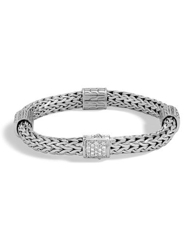 Classic Chain Silver Champagne Diamond Medium Four-Station Bracelet with ...