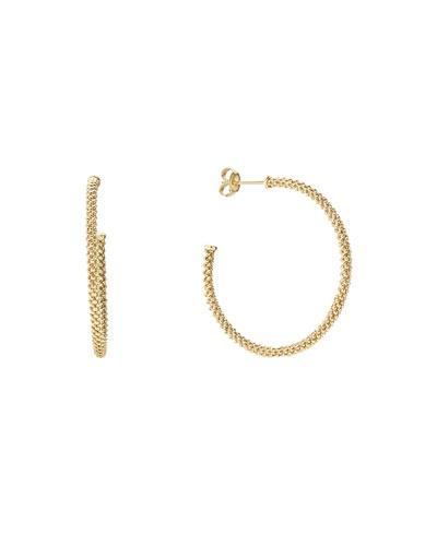 35mm 18K Gold Caviar Hoop Earrings