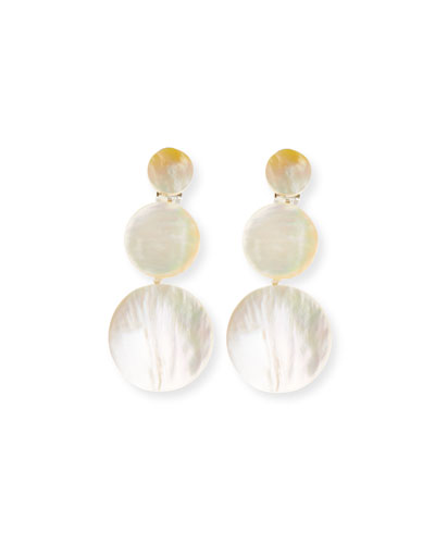 Triple-Drop Mother-of-Pearl Disc Earrings